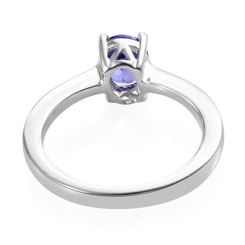 Signature Collection Premium Size Tanzanite (Ovl 7.5x5.5 mm) Solitaire Ring in Platinum Overlay Sterling Silver 1.050 Ct.