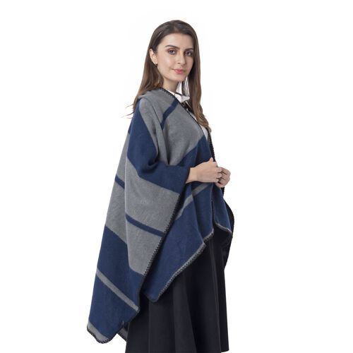 One Time Deal-Navy Blue and Grey Colour Big Stripe Pattern Blanket Kimono (Size 130x70 Cm)