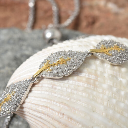 Designer Inspired- Diamond (Rnd) Adjustable Leaf Bolo Bracelet (Size 6.5 - 10) in Platinum and Yellow Gold Overlay Sterling Silver  0.750 Ct,