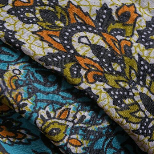 Blue, Orange and Multi Colour Damask Printed Kaftan (Free Size)
