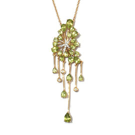 7.50 Ct Hebei Peridot and Zircon Pear Cut Gothic Necklace in Gold Plated Sterling Silver 18 Inch