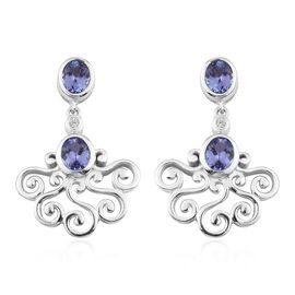 Tanzanite and Natural Cambodian Zircon Dangle Earrings (with Push Back) Platinum Overlay Sterling Si