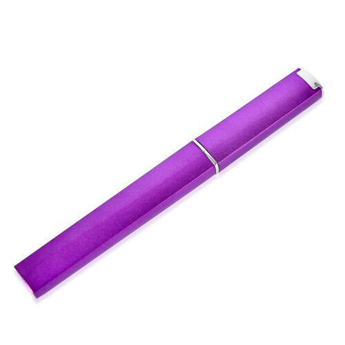 Simulated White Diamond Embellished Purple Colour Nail Filer and Eyebrow Tweezer in a Holder in Stainless Steel