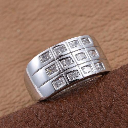 J Francis - Platinum Overlay Sterling Silver (Bgt) Ring Made with SWAROVSKI ZIRCONIA