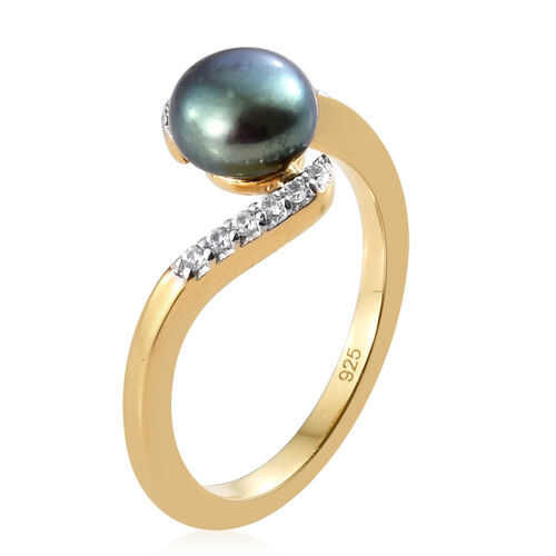 Fresh Water Peacock Pearl (Rnd 7 mm), Natural Cambodian Zircon Ring in 14K Gold Overlay Sterling Silver.
