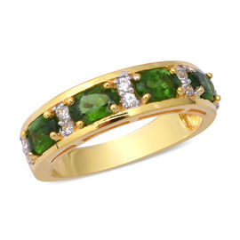 Russian Diopside (Ovl), Natural White Cambodian Zircon Band Ring in Yellow Gold Overlay Sterling Sil