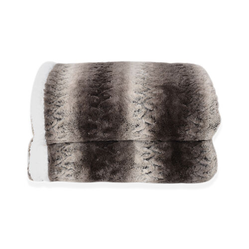Deluxe Collection- High Quality Smoky Grey Faux Fur Sherpa Blanket Size 150x200 cm