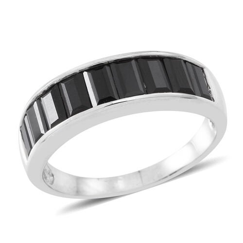 Boi Ploi Black Spinel (Bgt) Ring in Rhodium Plated Sterling Silver 4.500 Ct.
