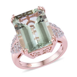 11.5 Ct Green Amethyst and Cambodian Zircon Solitaire Design Ring in Sterling Silver 5.40 Grams