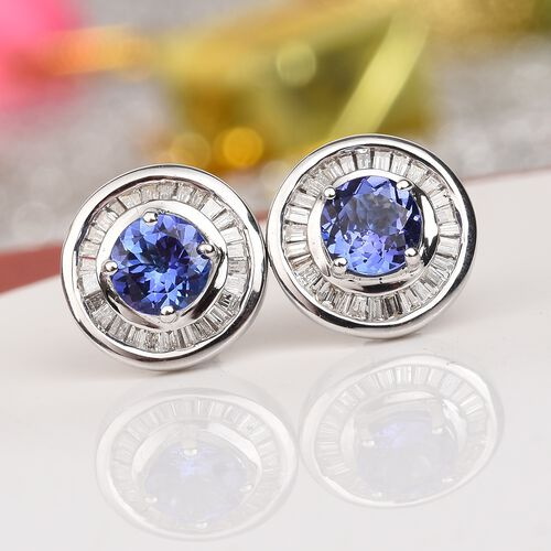 ILIANA 18K White Gold AAA Tanzanite and Diamond Stud Earrings (with Screw Back) 1.75 Ct.