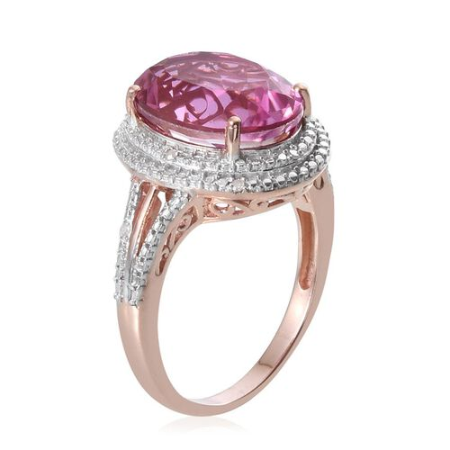 Kunzite Colour Quartz (Ovl 9.75 Ct), Diamond Ring in Rose Gold Overlay Sterling Silver 9.800 Ct.