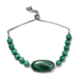 20 Ct Malachite Beaded Adjustable Bracelet in Stainless Steel 6.5 to 9.5 Inch