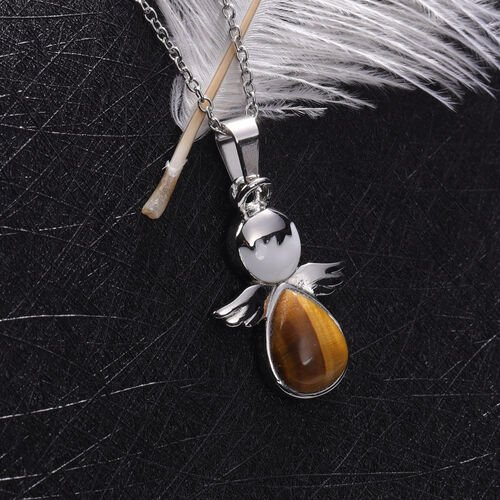 Yellow Tigers Eye Little Angel Enamelled Pendant with Chain (Size 20) in Stainless Steel 3.50 Ct.