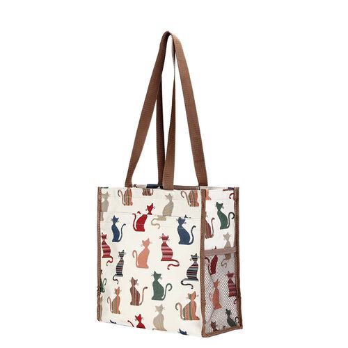 Signare Tapestry - 2 Piece Set - Cheeky Cat Shopping Bag (30X13X29cm) and Umbrella in Beige
