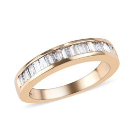 9K Yellow Gold SGL CERTIFIED Diamond (Bgt) (I3/G-H) Half Eternity Ring 0.50 Ct.