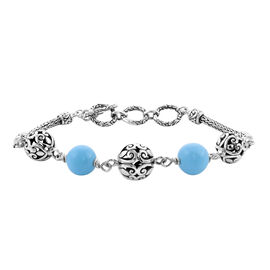 Royal Bali Collection - Arizona Sleeping Beauty Turquoise Beads Bracelet (Size 7.5 with Extender) in