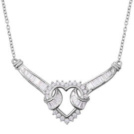 Signature Collection-ELANZA Simulated Diamond (Bgt) Heart Necklace (Size 20) in Rhodium Overlay Sterling Silver.Silver Wt 6.00 Gms