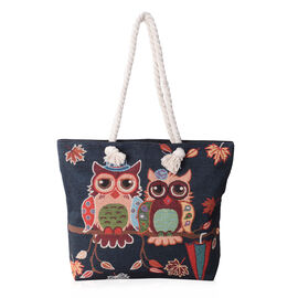 Super Chic Happy Owl Couple Pattern Light Weight Large Tote Bag (Size 45x34.5x10x37 Cm)