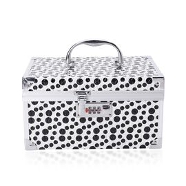 Black and White Colour Polka Dots Pattern Jewellery Box with Mirror Inside (Size 25x17x14 Cm)