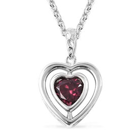 RACHEL GALLEY Rhodolite Garnet Heart Pendant with Chain (Size 20) in Rhodium Overlay Sterling Silver
