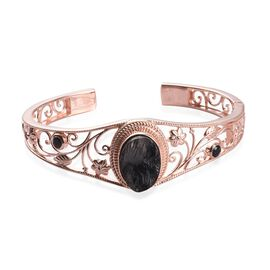 2.57 Ct Elite Shungite and Boi Ploi Black Spinel Floral Cuff Bangle in Rose Gold Plated 7.5 Inch