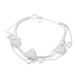 8 Inch Heart Bracelet in Rhodium Plated Sterling Silver 15.31 Grams
