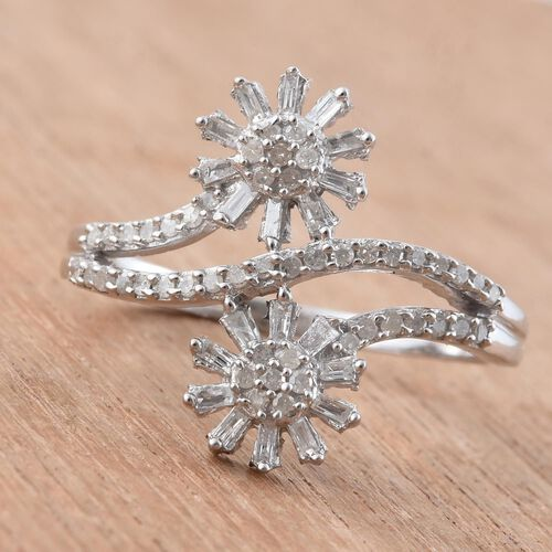 Diamond (Rnd) Twin Floral Ring in Platinum Overlay Sterling Silver 0.500 Ct.