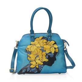 SUKRITI 100% Genuine Leather Hand Painted Lady with Yellow Flower Bag (Size 34x30x12 Cm) with Detach