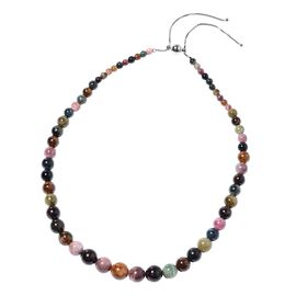 260 Ct Rainbow Tourmaline Beaded Necklace with Magnetic Lock in Sterling Silver 22 Inch
