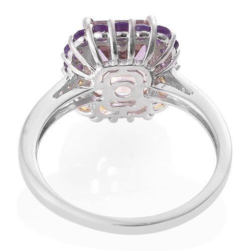 Anahi Ametrine (Oct 3.25 Ct), Amethyst, Citrine and Natural Cambodian Zircon Ring in Platinum Overlay Sterling Silver 4.000 Ct.