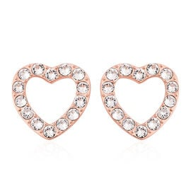 J Francis - Crystal from Swarovski White Crystal (Rnd) Heart Stud Earrings (with Push Back) in Rose