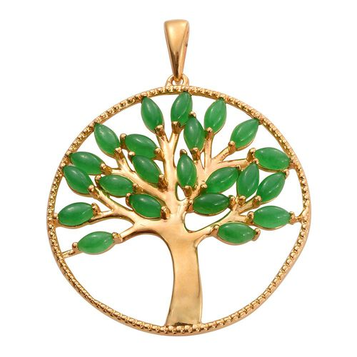 Green Jade (Mrq) Tree of Life Pendant in 14K Gold Overlay Sterling Silver 5.500 Ct.