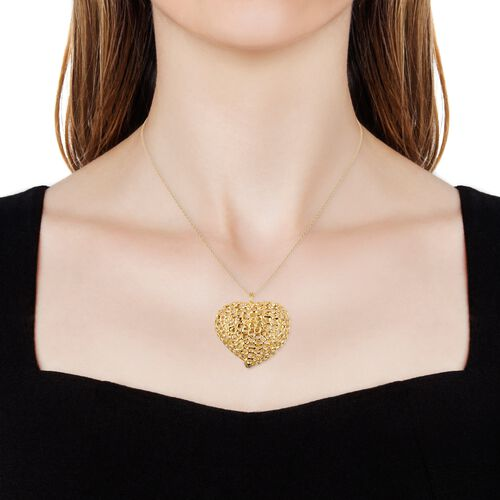 RACHEL GALLEY Yellow Gold Overlay Sterling Silver Lattice Heart Necklace (Size 30), Silver wt. 34.34 Gms.