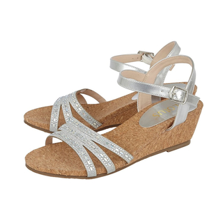 Lotus Mandy Womens Silver Strappy Wedge Sandals
