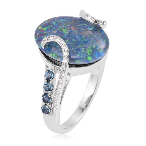 Rare  Size Boulder Opal (Ovl 16x12 mm), London Blue Topaz and Natural Cambodian White Zircon Ring in Rhodium Plated Sterling Silver