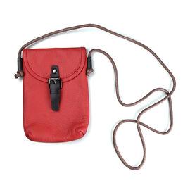 100% Genuine Leather Crossbody Bag (Size 13x4x20cm) - Red