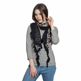 100% Cotton Multi Colour Floral Printed Black Colour Ruffled Scarf with Lace (Size 200x40 Cm)