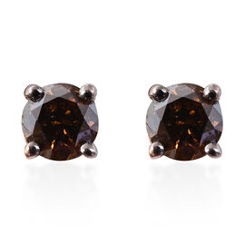 Extremely Rare-9K Rose Gold Red Diamond (Rnd)  Stud Earrings (with Push Back) 0.330 Ct.