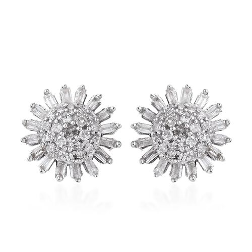 Diamond (Rnd) Stud Earrings (with Push Back) in Platinum Overlay Sterling Silver 0.500 Ct.