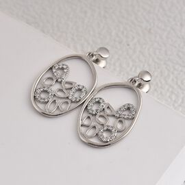 RACHEL GALLEY 950 Platinum IGI Certified White Diamond (VS/E-F) Dangling Earrings (With Screw Back) 0.33 Ct.