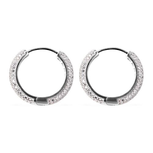 Natural White Cambodian Zircon (Rnd) Cluster Hoop Earrings (with Clasp) in Rhodium Overlay Sterling Silver 2.88 Ct, Silver wt 7.05 Gms, Number of Gemstone 288