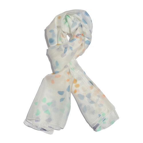 100% Mulberry Silk Off White, Purple and Multi Colour Handscreen Printed Scarf (Size 180x90 Cm)