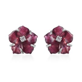 Rhodolite Garnet (Rnd), Natural Cambodian Zircon Detachable Floral Stud Earrings (with Push Back) in