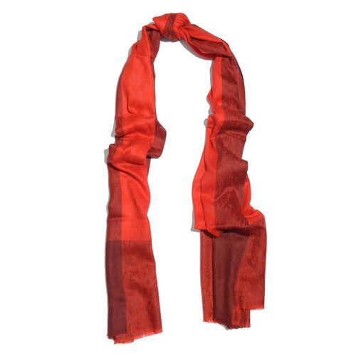 100% Fine Cashmere Wool Red Colour Self Printed Scarf (Size 200x70 Cm)