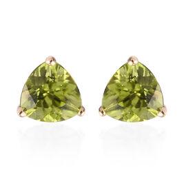 9K Yellow Gold Stud AA Hebei Peridot Stud Earrings (with Push Back) 1.60 Ct.