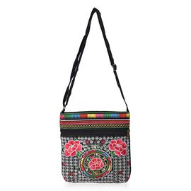 SHANGHAI  COLLECTION - Embroidered Flower Pattern Crossbody Bag with Adjustable Shoulder Strap and Z