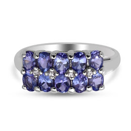 Tanzanite and Natural Cambodian White Zircon Ring in Rhodium Overlay Sterling Silver 1.65 Ct.