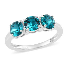 J Francis Swarovski Blue Zircon Crystal Trilogy Ring in Sterling Silver