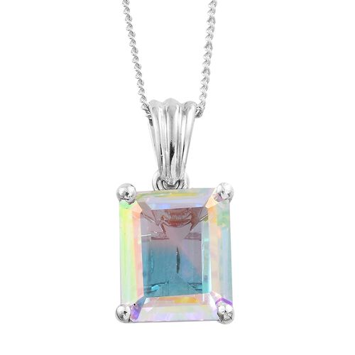 Mercury Mystic Topaz (Oct) Solitaire Pendant with Chain in Platinum Overlay Sterling Silver 4.750 Ct.