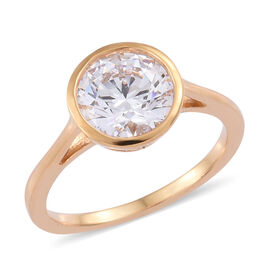 J Francis - 14K Gold Overlay Sterling Silver (Rnd) Solitaire Ring (Size N)  Made with SWAROVSKI ZIRCONIA, Car